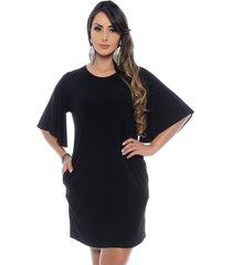 vestido curto b bonnie manga flare antonella preto
