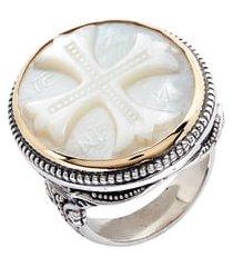 women's konstantino trillion embossed cross mother-of-pearl ring
