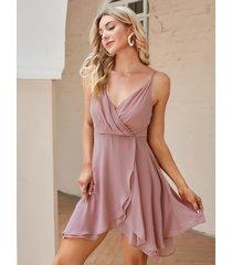 yoins minivestido sin mangas plisado de doble capa rosa