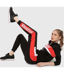 sudadera negro-rojo-blanco reebok training essentials