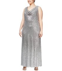 alex evenings plus size cowlneck sequin gown
