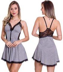 camisola etilo sedutor em viscolycra e renda cinza com preto - es209 - cinza - feminino - dafiti