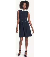 tommy hilfiger women's essential sleeveless military dress sky captain - 10