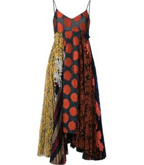 biyan printed patchwork dress - multicolour