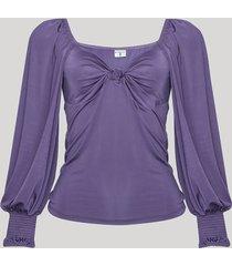blusa feminina mindset com nó manga bufante decote coração roxa