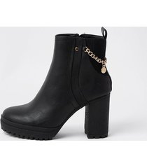 river island womens black ankle boots with chain detail