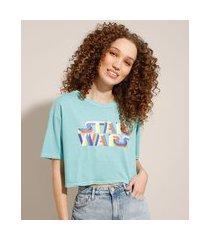 camiseta cropped oversized de algodão star wars manga curta decote redondo azul