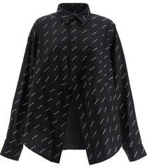 black and white logo print button down shirt