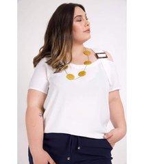 blusa com fivela alça kauê plus size feminina - feminino