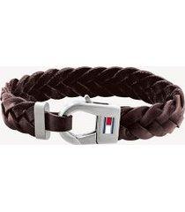 tommy hilfiger men's brown braided leather bracelet brown -