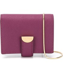 marc jacobs the half moon small card case with chain - purple
