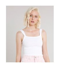 regata feminina cropped canelada alça larga decote reto off white