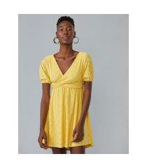 amaro feminino vestido curto com mangas bufantes com faixa, amarelo