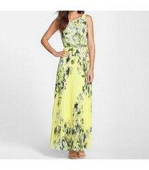 zanzea vestido largo sin manga gasa flor playa casual -amarillo