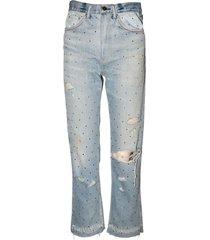 gradient crystal reconstructed indigo jeans