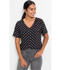 blouse met korte mouwen en stippen
