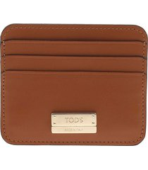 tods card holder in orange leather
