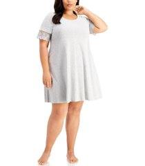 charter club plus size lace-trim sleepshirt nightgown, created for macy's