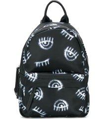 chiara ferragni kids mochila com estampa eye - preto