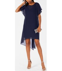 adrianna papell chiffon-overlay a-line dress