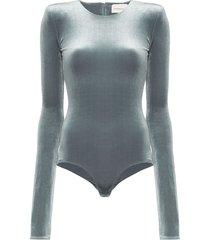 alexandre vauthier velvet padded shoulder bodysuit - grey