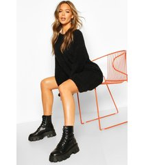 soft touch crew neck mini sweater dress, black