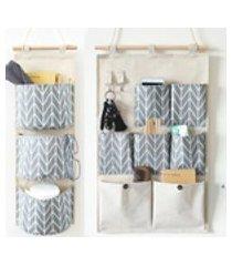 7/3 bolsos saco de armazenamento de detritos de bolso de suspensão de várias camadas saco de organizador de tecido de algodão sobre a parede porta do quarto porta traseira armário saco de armazenamento de suspensão com 2 ganchos wongkuba