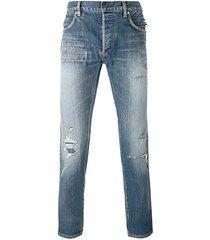blue destroyed effect denim jeans