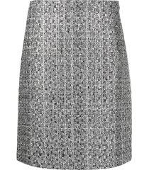 alberta ferretti high-waisted woven skirt - silver