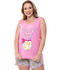 pijama short doll regata plus size lemon luna cuore