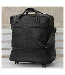 expandable leather wheeled travel bag, 'style traveler in black' (brazil)