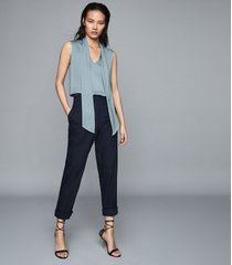 reiss trudie - pintuck detail sleeveless blouse in blue, womens, size 10
