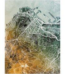 "michael tompsett cape town south africa city street map teal orange canvas art - 15"" x 20"""