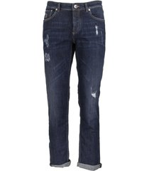 brunello cucinelli blue selvedge denim traditional fit five-pocket trousers with rips