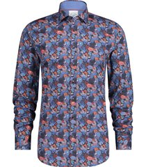 a fish named fred 23.01.007 shirt coral/navy/red overhemd multicolour -