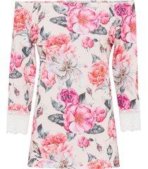 maglia con spalle scoperte e pizzo (rosa) - bodyflirt boutique