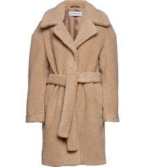 belted teddy coat wollen jas lange jas beige ivyrevel