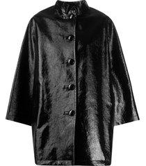 balenciaga coated opera coat - black