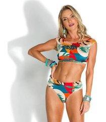 biquíni de chelles top cropped decote canoa tropicalia - feminino