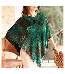 cotton blend poncho, 'emerald valley' (guatemala)