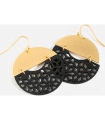 nadia leather filigree statement earrings - black