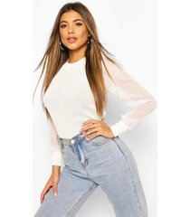 knitted pointelle sheer sleeve top, white