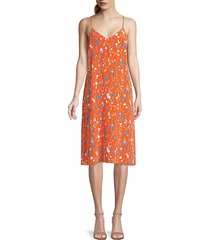 equipment jules floral slip dress - orange rust - size l