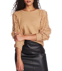women's 1.state fringe sleeve sweater, size xx-small - brown