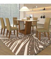 mesa de jantar 6 lugares vailant cedro/areia/branco - viero móveis