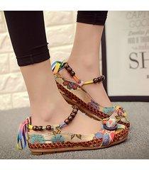 donna scarpe basse vintage e rétro lavorate d'intreccio a nodo di farfalla con caviglire di perline