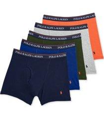polo ralph lauren men's 5-pk. classic-fit moisture-wicking cotton boxer briefs