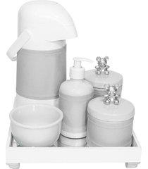 kit higiene espelho completo porcelanas, garrafa e capa ursinho prata quarto bebê unissex