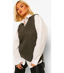 petite lang gebreid hemdje met v-hals, khaki