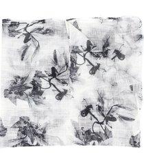 brunello cucinelli long floral print scarf - white